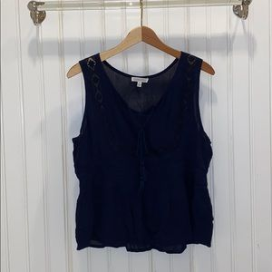 Sheer Navy Blue Blouse Tank Top